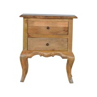 French Design Cabriole Leg 2 Drawer Bedside
