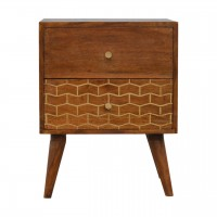 Gold Pattern 2 Drawer Bedside